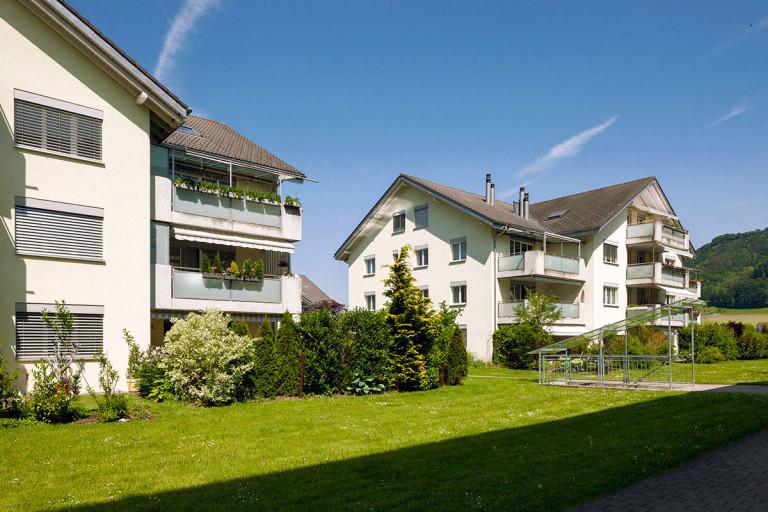 Belp – Scheuermatt I: Aussenansicht Miet- und Eigentumswohnungen, Birkenweg 35–45 | Zürcher Immobilien, Galli + Siegenthaler Bauplanungen AG