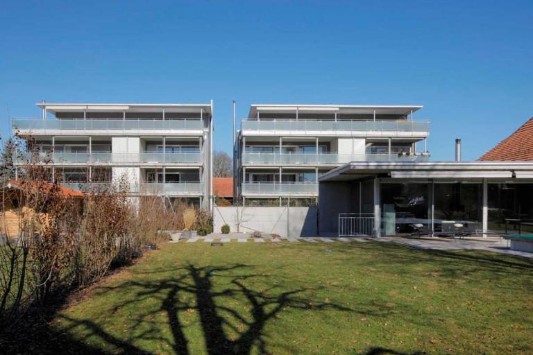 Belp – Sonnenhof: Aussenansicht Pavillon und Mietwohnungen Block A und B, Käsereistrasse 3/5 | Zürcher Immobilien, GHZ Architekten AG