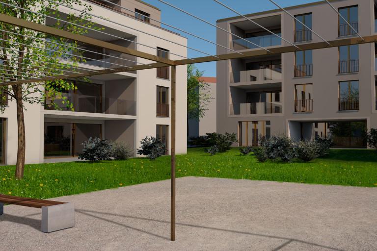 Zollikofen – Auf dem Hof: Aussenansicht Innenhof zwischen Mehrfamilienhaus A und C | Zürcher Immobilien, GHZ Architekten AG