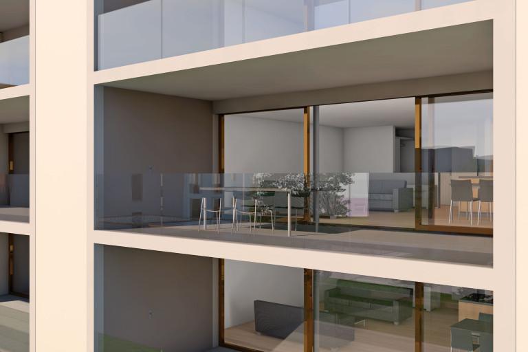 Zollikofen – Auf dem Hof: Ansicht eingezogene Balkone | Zürcher Immobilien, GHZ Architekten AG