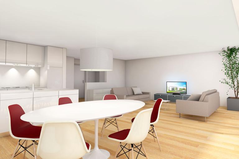 Zollikofen – Auf dem Hof: Ansicht Wohnungsbeispiel | Zürcher Immobilien, GHZ Architekten AG