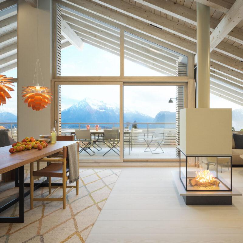 Visualisierung Aussicht Essbereich Obergeschoss